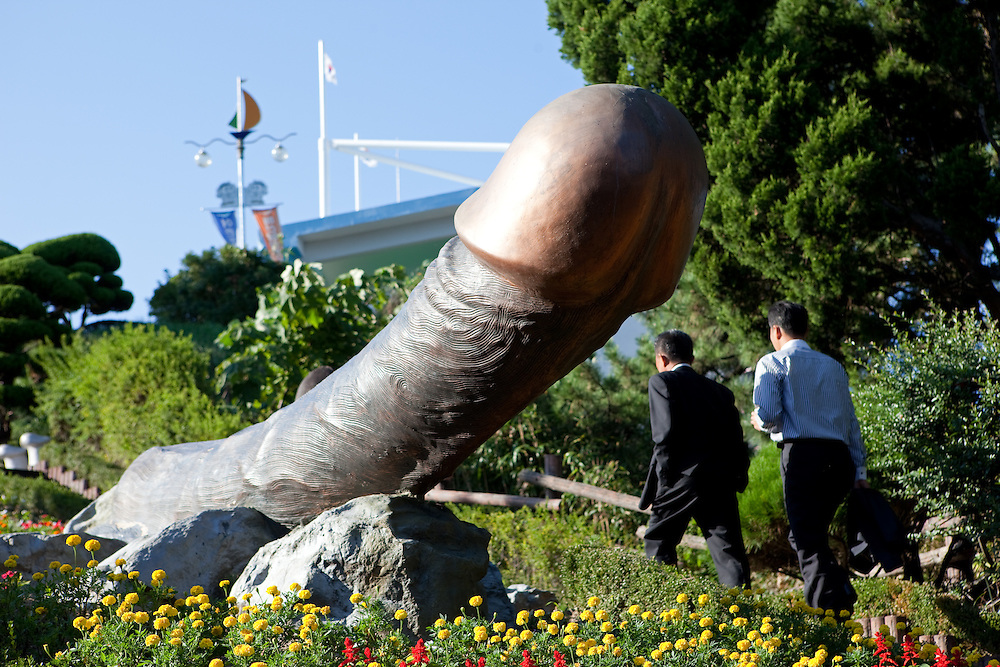 The penis park Haesindang Gongwon, giant wooden penis carvings and statuary / Sinnam, South Korea, Republic of Korea, KOR, 05 October 2009.