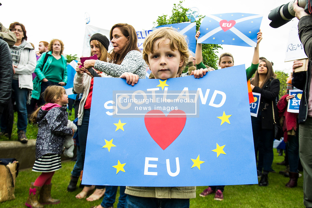 Pictured: Finlay Mair (5)<br /> Thousands of people gathered outside the Scottish Parliament to demonstrate for Scotland to remain part of EU. Young and old gathered in support of the European Movement Edinburgh  whoorganised the event inthe wake of the vote to leave<br /> <br /> <br /> Ger Harley   EEm 29 June 2016
