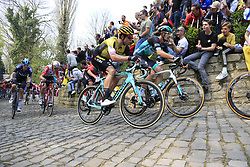 The peloton including Wout Van Aert (BEL) Team Jumbo-Visma and Daniel Oss (ITA) Bora-Hansgrohe on the Muur Kapelmuur Geraardsbergen during the 2019 Ronde Van Vlaanderen 270km from Antwerp to Oudenaarde, Belgium. 7th April 2019.<br /> Picture: Eoin Clarke | Cyclefile<br /> <br /> All photos usage must carry mandatory copyright credit (© Cyclefile | Eoin Clarke)