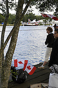 Henley, GREAT BRITAIN,  Canadian supporters line the bank. 2008 Henley Royal Regatta, on  Saturday, 05/07/2008,  Henley on Thames. ENGLAND. [Mandatory Credit:  Peter SPURRIER / Intersport Images] Rowing Courses, Henley Reach, Henley, ENGLAND . HRR