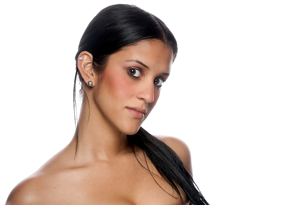 Portrait of beautiful hispanic woman looking at camera