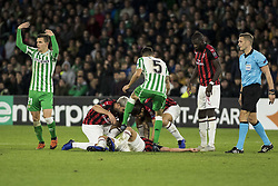 November 8, 2018 - Seville, Spain - MATEO MUSSACCHIO of Milan lies injured during the Europa League Group F soccer match between Real Betis and AC Milan at the Benito Villamarin Stadium (Credit Image: © Daniel Gonzalez Acuna/ZUMA Wire)