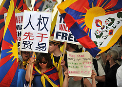 © licensed to London News Pictures. LONDON, UK.  27/06/11. Free Tibet protesters hold up banners opposite Downing Street. A protest was held outside Downing Street  today (27 June2011). The protest was aimed at the Chinese Premier, Wen Jiabao, who was visiting British Prime Minister David Cameron. Pro China and Free Tibet protesters where present. today (27 June2011). Mandatory Credit Stephen Simpson/LNP