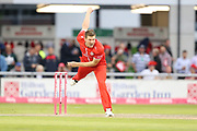 Lancashires James Falkner during the Vitality T20 Blast North Group match between Lancashire Lightning and Durham Jets at the Emirates, Old Trafford, Manchester, United Kingdom on 7 August 2018.