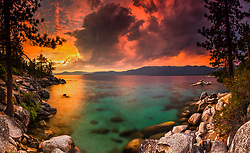 """Sunset at Lake Tahoe 43"" - Stitched panoramic photograph of a vibrant smokey sunset at Lake Tahoe, just north of Sand Harbor."
