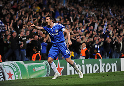 Frank Lampard of Chelsea celebrates after scoring to make it 3-2