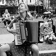 Brooke Watkins who performs together with Karl Meyer as a violin-accordion duo named The Wisterians, here at the Bryant Park International accordion festival.