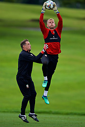 CARDIFF, WALES - Tuesday, September 4, 2018: Wales' goalkeeper Adam Davies and goalkeeping coach Tony Roberts during a training session at the Vale Resort ahead of the UEFA Nations League Group Stage League B Group 4 match between Wales and Republic of Ireland. (Pic by David Rawcliffe/Propaganda)