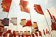 Flags at the One World field, Glastonbury 2005