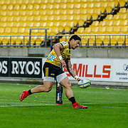 Ben Lam scores during the Super rugby (Round 12) match played between Hurricanes  v Lions, at Westpac Stadium, Wellington, New Zealand, on 5 May 2018.  Hurricanes won 28-19.