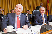 Apr. 20, 2009 -- PHOENIX, AZ: US Senators JOHN MCCAIN (R-AZ) left, and JOE LIEBERMAN (Ind-CT) chat before the US Senate committee hearing in Phoenix Monday. The US Senate Committee on Homeland Security and Government Affairs, chaired by Sen. Joe Lieberman (Ind-CT), held a hearing about local perspectives on border violence in the Phoenix City Council chambers in Phoenix, AZ, Monday.   Photo by Jack Kurtz