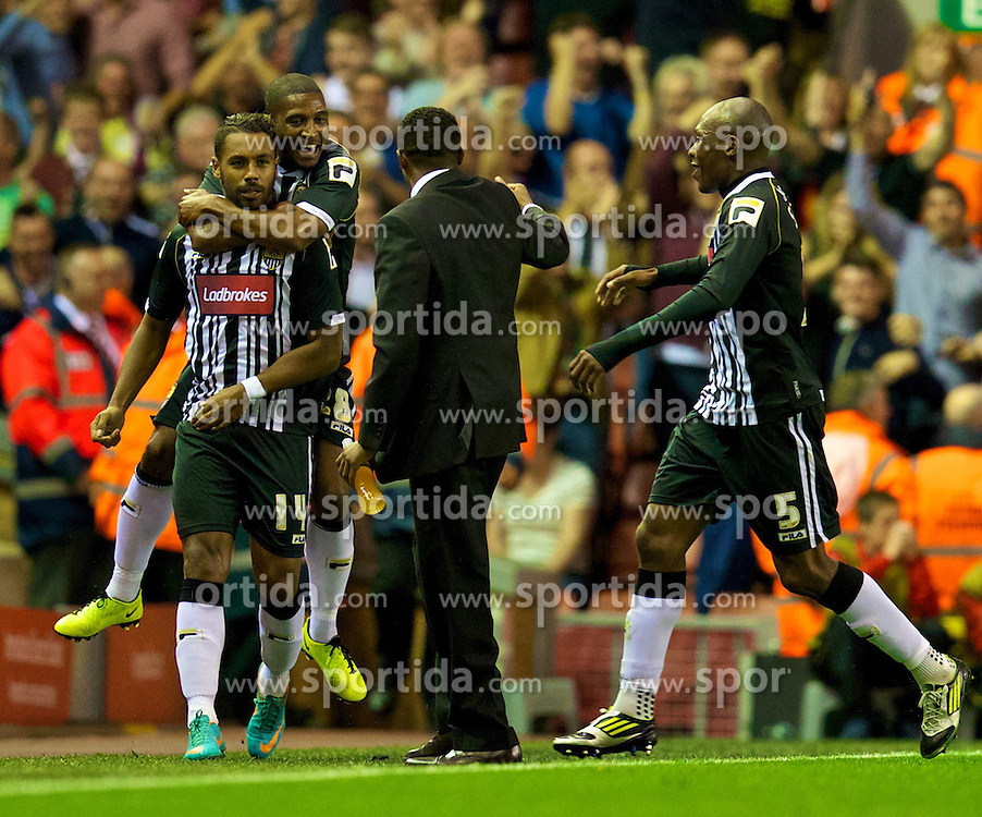 27.08.2013, Anfield, Liverpool, ENG, League Cup, FC Liverpool vs Notts County FC, 2. Runde, im Bild Notts County's Adam Coombes celebrates scoring the second goal against Liverpool during the English League Cup 2nd round match between Liverpool FC and Notts County FC, at Anfield, Liverpool, Great Britain on 2013/08/27. EXPA Pictures © 2013, PhotoCredit: EXPA/ Propagandaphoto/ David Rawcliffe<br /> <br /> ***** ATTENTION - OUT OF ENG, GBR, UK *****
