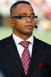 September 20, 2010; San Francisco, CA, USA;  ESPN commentator Stuart Scott before the game between the San Francisco 49ers and the New Orleans Saints at Candlestick Park. New Orleans defeated San Francisco 25-22.