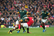 Twickenham, Great Britain,  Alex CUTHBERT find himself wrapped up by the RSA defence during the Quarter Final 1 game, South Africa vs Wales.  2015 Rugby World Cup,  Venue, Twickenham Stadium, Surrey, ENGLAND.  Saturday  17/10/2015.   [Mandatory Credit; Peter Spurrier/Intersport-images]