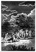 Burying victims of the Plague of London (1665) at night in multiple graves. Two of men are smoking pipes, partly to combat stench of corpses, partly in the hope that Tobacco smoke would prevent them becoming infected. Copperplate engraving.