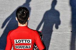 December 15, 2017 - Majorca, SPAIN - A Lotto Soudal rider pictured during a press day during Lotto-Soudal cycling team stage in Mallorca, Spain, ahead of the new cycling season, Friday 15 December 2017. BELGA PHOTO DIRK WAEM (Credit Image: © Dirk Waem/Belga via ZUMA Press)