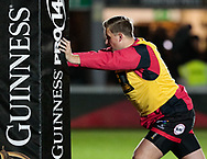 Dragons' Jarryd Sage during the pre match warm up<br /> <br /> Photographer Simon King/Replay Images<br /> <br /> Guinness Pro14 Round 12 - Dragons v Cardiff Blues - Sunday 31st December 2017 - Rodney Parade - Newport<br /> <br /> World Copyright © 2017 Replay Images. All rights reserved. info@replayimages.co.uk - http://replayimages.co.uk