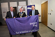 Galway City celebrates purple flag status...<br /> Galway City Council hosted a mayoral reception to celebrate Galway's designation as a Purple Flag City. The city was awarded Purple Flag status earlier this year, following a rigorous application process, in recognition of its safe, vibrant and well-managed town centre in the evening and at night.<br /> Purple Flag is an international accreditation scheme for town and city centres. It is run through the Association of Town and City Management (ATCM) and is the &ldquo;gold standard&rdquo; for night time destinations. A judging panel visited the city last December and, over a 12 hour period from 5 pm &ndash; 5 am, assessed the city using 30 different criteria, including safety, appropriate transport, available services, use of public spaces and vibrant appeal. A comprehensive application form was also submitted. Galway City passed all 30 criteria of the accreditation procedure with commendations. In particular, the city was praised was praised for strong evidence of leadership and business engagement.<br /> Anthony Ryan , Cllr. Donal Lyons and Brendan McGrath - Chief Executive of Galway City Council <br />  Photo:Andrew Downes, XPOSURE