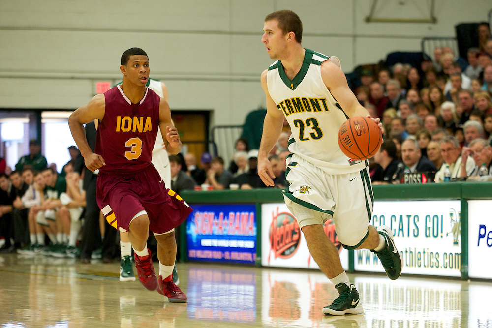 The men's basketball game between the Iona Gaels and the Vermont Catamounts at Patrick Gym on Saturday afternoon December 17, 2011 in Burlington, Vermont.