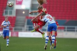 Claire Emslie of Bristol City Women heads away from Harriet Scott of Reading Women - Mandatory by-line: Gary Day/JMP - 22/04/2017 - FOOTBALL - Ashton Gate - Bristol, England - Bristol City Women v Reading Women - FA Women's Super League 1 Spring Series