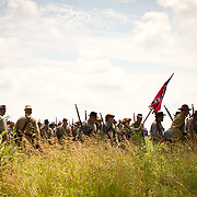 during the Sesquicentennial Anniversary of the Battle of Gettysburg, Pennsylvania on Sunday, June 30, 2013.  A pivotal battle in the Civil War, over 50,000 soldiers died in the battle which spanned 3 days from July 1-3, 1863.  Later that year, President Abraham Lincoln returned to Gettysburg to deliver his now famous Gettysburg Address to dedicate the cemetery there for the Union soldiers who died in battle.  John Boal photography