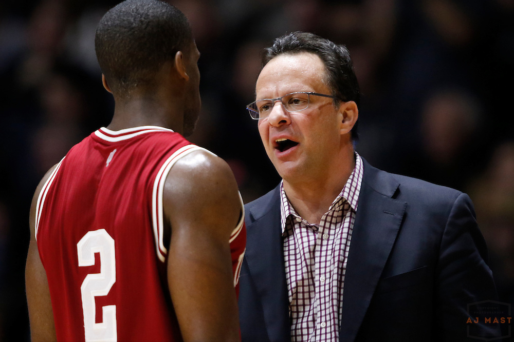 Indiana head coach Tom Crean in action as Purdue played Indiana in an NCCA college basketball game in West Lafayette, Ind., Tuesday, Feb. 28, 2017. (Photo by AJ Mast)