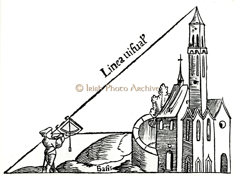 Using a quadrant with a plumb bob to calculate the height of a tower by triangulation. From Sebastian Munster 'Rudimenta Mathematica', Basle 1551. Woodcut
