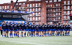 Italy line up for the anthems <br /> <br /> Photographer Simon King/Replay Images<br /> <br /> Six Nations Round 1 - Wales Women v Italy Women - Saturday 2nd February 2020 - Cardiff Arms Park - Cardiff<br /> <br /> World Copyright © Replay Images . All rights reserved. info@replayimages.co.uk - http://replayimages.co.uk