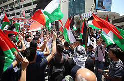 May 4, 2017 - Nablus, West Bank, Palestinian Territory - Palestinian students take part in a protest to show solidarity with Palestinian prisoners on hunger strike in Israeli jails, in the West Bank city of Nablus. (Credit Image: © Ayman Ameen/APA Images via ZUMA Wire)