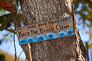 Keep the beach clean sign at Steps beach in Rincon Puerto Rico