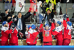 Vladimir Ruzicka of Czech Republic and his players celebrate after scoring fifth goal during Ice Hockey match between Finland and Czech Republic at Quarterfinals of 2015 IIHF World Championship, on May 14, 2015 in O2 Arena, Prague, Czech Republic. Photo by Vid Ponikvar / Sportida
