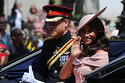 © Licensed to London News Pictures. 09/06/2018. London, UK. The Duke and Duchess of Sussex Prince Harry and Meghan Markle during the Trooping The Colour ceremony in London to mark the 92nd birthday of Queen Elizabeth II, Britain's longest reigning monarch. Photo credit: Rob Pinney/LNP