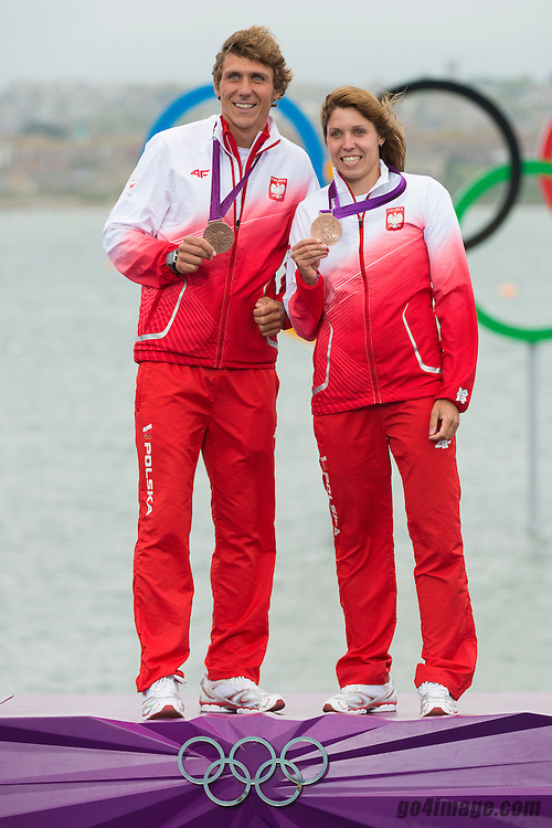 2012 Olympic Games London / Weymouth<br /> RSX Medal Ceremonies<br /> Miarczynski Przemyslaw, (POL, RS:X Men)<br /> Noceti-Klepacka Zofia, (POL, RS:X Women)