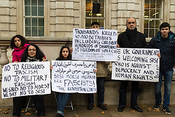 Whitehall, London, November 5th 2015. UK Egyptians demonstrate in support of President Abdel Fatah al-Sisi as supporters of ousted Mohamed Morsi and human rights groups protest outside Downing Street as the leader visits Prime Minister David Cameron at No. 10.  PICTURED: A small group of Egyptians protests against both ousted Mohamed Morsi and President Sisi, accusing supporters of both Sisi and Morsi of putting their heroes ahead of the needs of the nation.
