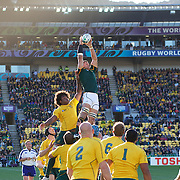 Pierre Spies, South Africa, wins a line out from Radike Samo, Australia, in action during the South Africa V Australia Quarter Final match at the IRB Rugby World Cup tournament. Wellington Regional Stadium, Wellington, New Zealand, 9th October 2011. Photo Tim Clayton...