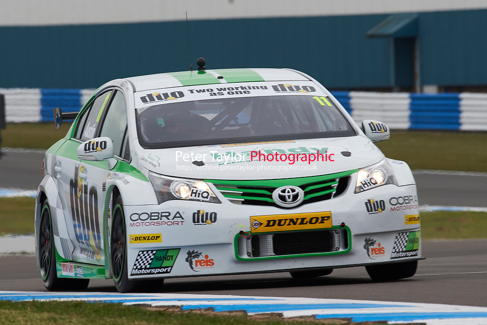 #11 Rob Austin GBR Handy Motorsport Toyota Avensis during Media Day Test Session as part of the BTCC Media Day at Donington Park, Melbourne, Leicestershire, United Kingdom. March 22 2016. World Copyright Peter Taylor/PSP. Copy of publication required for printed pictures.  Every used picture is fee-liable.