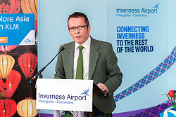 Inverness Airport welcomed KLM's Inaugural flight from Amsterdam. To celebrate the new route, the first flight from Schiphol, Amsterdam was greeted by a water cannon salute upon arrival.  On board were Barry ter Voert, Senior Vice President, Air France KLM European Markets and Wilco Swejen, Director for Aviation Marketing, Schipol Airport.  Provost Helen Carmichael, The Highland Council, Inglis Lyon, Managing Director of Highlands and Islands Aiports and Drew Hendry MP (Inverness, Nairn, Badenoch and Strathspey) met the delegation, officially welcoming the group to the Highlands. <br /> <br /> Pictured: Inglis Lyon, Managing Director of Highlands and Islands Airports<br /> <br /> Malcolm McCurrach | EEm | Tue, 17, May, 2016