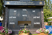 Score box at Chelteham college before day 2 of the Specsavers County Champ Div 2 match between Gloucestershire County Cricket Club and Leicestershire County Cricket Club at the Cheltenham College Ground, Cheltenham, United Kingdom on 16 July 2019.