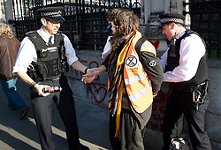 © Licensed to London News Pictures. 14/11/2018. London, UK. A police officer (L) holds a spray can as a vegan protestor is arrested after painting slogans at the Carriage Gate entrance to Parliament. Two people were arrested.Photo credit: Peter Macdiarmid/LNP