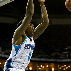 Jan 21, 2013; New Orleans, LA, USA; New Orleans Hornets small forward Al-Farouq Aminu (0) dunks against the Sacramento Kings during the first quarter of a game at the New Orleans Arena. Mandatory Credit: Derick E. Hingle-USA TODAY Sports