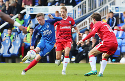 Chris Forrester of Peterborough United in action with Lee Martin and Billy Bingham of Gillingham - Mandatory by-line: Joe Dent/JMP - 14/10/2017 - FOOTBALL - ABAX Stadium - Peterborough, England - Peterborough United v Gillingham - Sky Bet League One