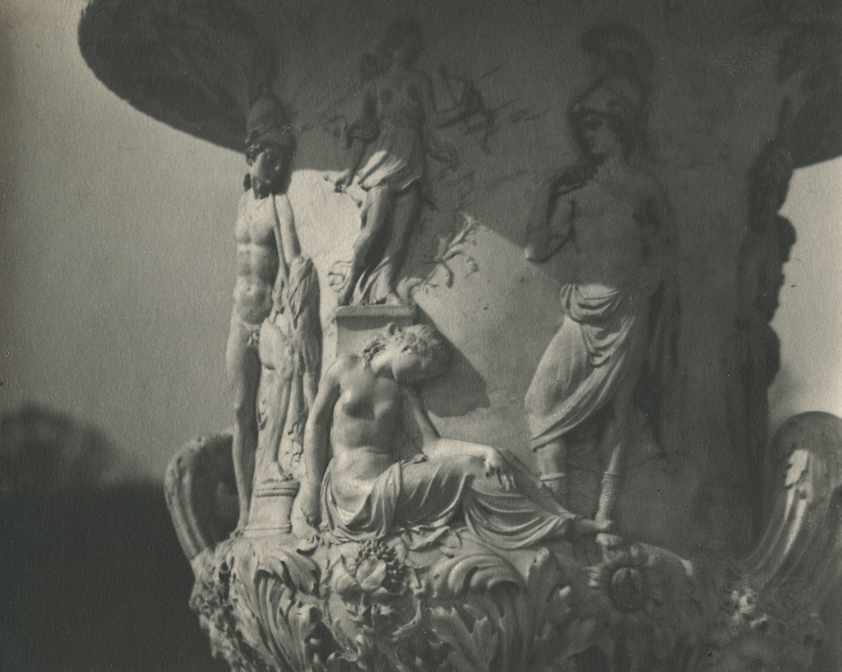 Fountain with Greek statue motifs<br /> <br /> Taken by a Japanese photographer who seemed obsessed with Brassai and a member of a Tokyo photo circle associated with the Tokyo Shashin Kenkyu Kai (Tokyo Photographic Research Society). This photographer traveled to Paris to photograph that city and pay homage to Brassai.<br /> <br /> Vintage, matte, gelatin silver print with Agfa-Brovia photo paper watermarks on verso.<br /> <br /> Print size: 7 inches x 6 inches (178 mm x 150 mm).<br /> <br /> Condition: Good<br /> <br /> Price:  &yen;570,000 for set of 15 prints<br /> <br /> <br /> <br /> <br /> <br /> <br /> <br /> <br /> <br /> <br /> <br /> <br /> <br /> <br /> <br /> <br /> <br /> <br /> <br /> <br /> <br /> <br /> <br /> .
