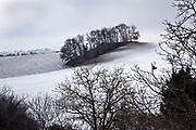 wintry rural agricultural landscape with snow on the ground France Languedoc Aude