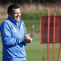 St Johnstone Training....02.10.15<br /> Assistant Manager Callum Davidson pictured in training this morning ahead of facing Aberdeen tomorrow<br /> Picture by Graeme Hart.<br /> Copyright Perthshire Picture Agency<br /> Tel: 01738 623350  Mobile: 07990 594431