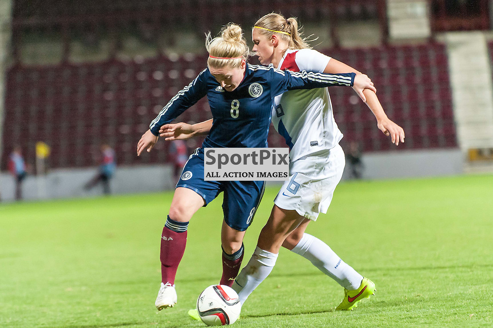 Scotland Midfielder Kim Little. Action from the semi-final 1st leg of the FIFA Womens World Cup play-off between Scotland and The Netherlands at Tynecastle Stadium in Edinburgh, 25 October 2014. (c) Paul J Roberts / Sportpix.org.uk