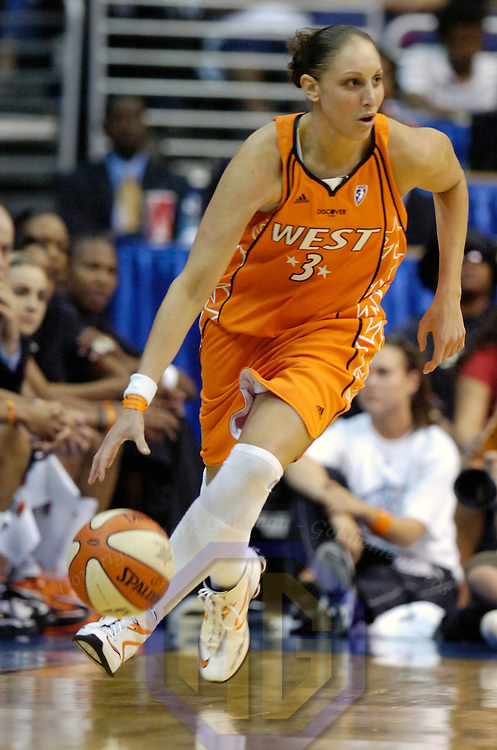 15 July 2007:  Phoenix Mercury guard Diana Taurasi of the Western Conference All-Stars brings the ball upcourt in the second half against the Eastern Conference All-Stars in the WNBA All-Star game at Verizon Center in Washington, D.C. The Eastern Conference All-Stars defeated the Western Conference All Stars 103-99.