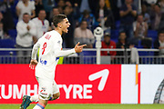 Houssem Aouar (OL) celebrates after his goal during the French Championship Ligue 1 football match between Olympique Lyonnais and Dijon FCO on September 23, 2017 at Groupama stadium in Lyon, France - Photo Romain Biard / Isports / ProSportsImages / DPPI