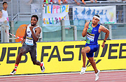 Michael Norman (USA), right, defeats Noah Lyles (USA) to win the 200m, 19.70 to 19.72, during the 39th Golden Gala Pietro Menena in an IAAF Diamond League meet at Stadio Olimpico in Rome on Thursday, June 6, 2019. (Jiro Mochizuki/Image of Sport)