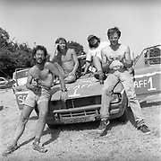 Scaff crew and their car, at Glastonbury, 1989.