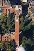 aerial photograph of the Chamberlain Clock at  Birmingham University England Great Britain